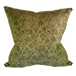 Pair Fortuny Style Green Pillows