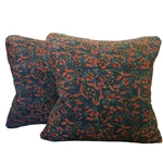 Pair Indian Batik Pillows