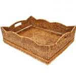 Rattan Scalloped Tray