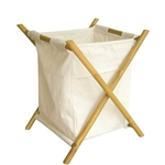 Bamboo and Canvas Hamper