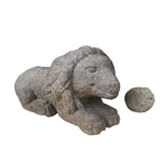 Carved Stone Lion and Sphere