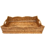 Rattan Scalloped Butler Tray
