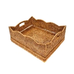 Rattan Scalloped Tray; Sm.