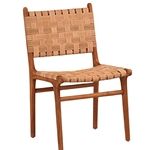 Teak Woven Suede Chair