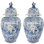 Pair Delft Baluster Jars