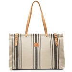 Beige and Indigo Canvas Bag
