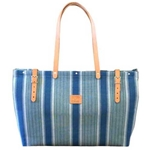 Blue Water Stripe Canvas Bag