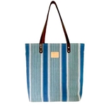 Blue Water Stripe Canvas Tote