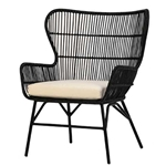 Ebonized Woven Rattan Chair