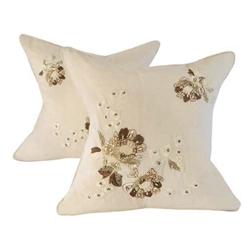 Pair Rose Embroidered Pillows