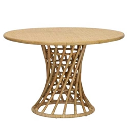 Blonde Rattan Pedestal Table