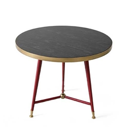 Red Leather Side Table