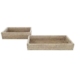 Bleached Rattan Bathroom Tray
